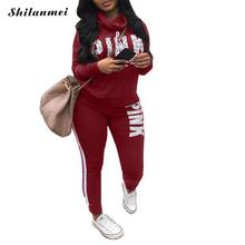 Pink Letter Print Tracksuits Women Two Piece Set 2019 Autumn Long Sleeve Hoodies