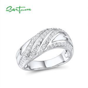 Image 3 - SANTUZZA תכשיטי סט לנשים טהור 925 סטרלינג כסף נוצץ לבן מעוקב Zirconia טבעת עגילי סט פשוט תכשיטים
