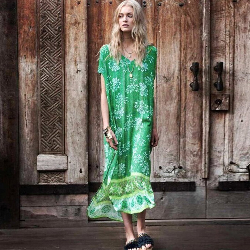 Europe And America Cotton Positioning Printed Green V-neck Beach Skirt One Piece Long Skirts Bikini Cover-up Bathing Suit Sun Sh