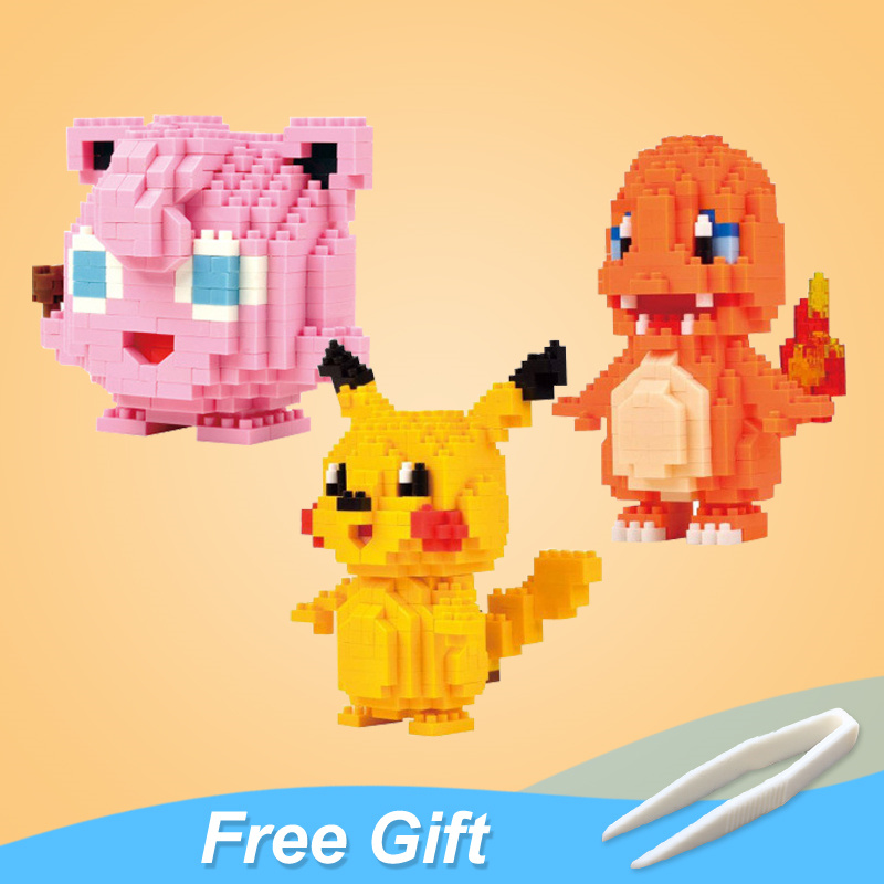 LOZ Blocks Building Ball Pikachu Snorlax Charmander Eevee Jigglypuff Toys Action Figures Anime Model Japanese Cartoon Gift