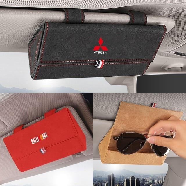 Car Sun Visor Glasses Box Storage Holder Sunglasses Case for Mitsubishi RALLIART ASX Lancer Colt Pajero Outlander Eclipse Galant