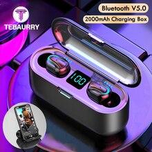 TWS אלחוטי Bluetooth אוזניות סטריאו הדיבורית אלחוטי אוזניות ספורט מיני אוזניות עם מחזיק טלפון 2000mAh כוח בנק