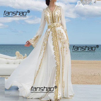 White Ivory Dubai Evening Dresses Golden Lace Moroccan Kaftan Lace Applique Saudi Arabic Muslim Special Occasion Party Plus Size