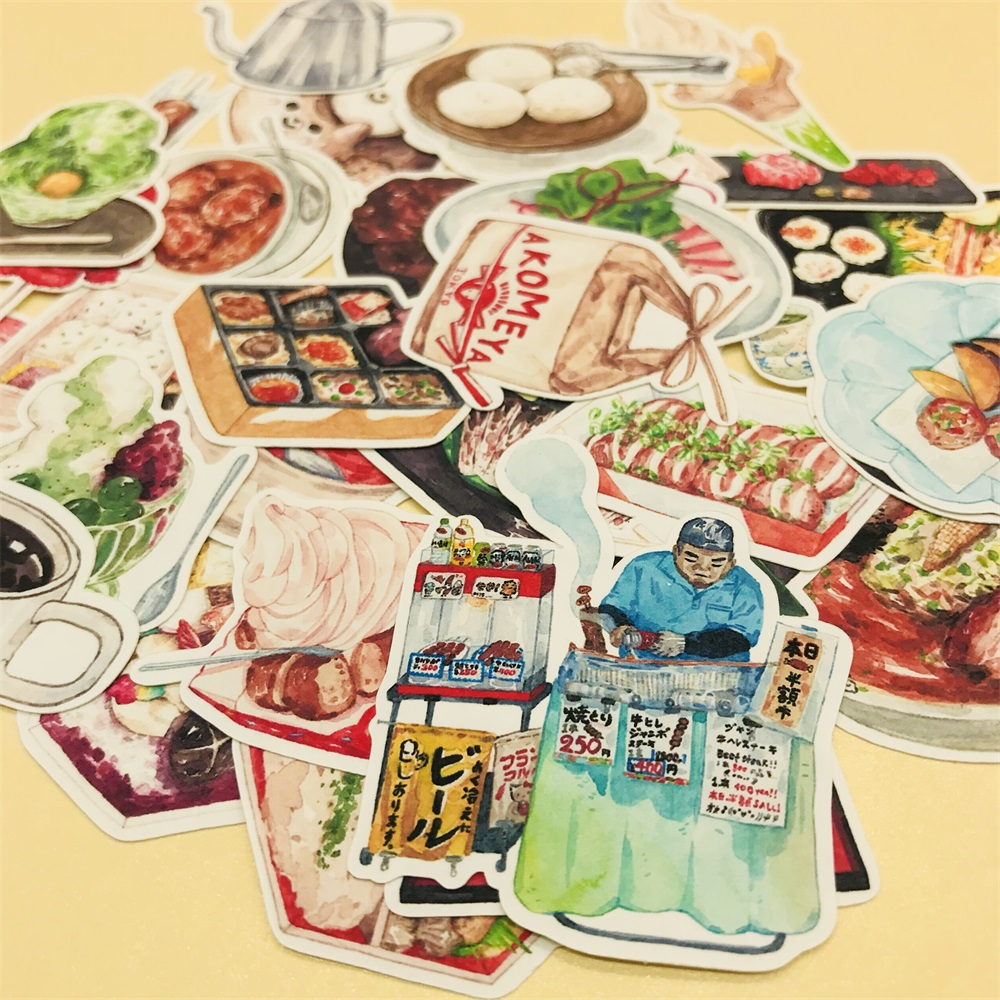 33Pcs/Set Retro Japanese Delicious Food Sticker DIY Craft Scrapbooking Album Junk Journal Happy Planner Decorative Stickers