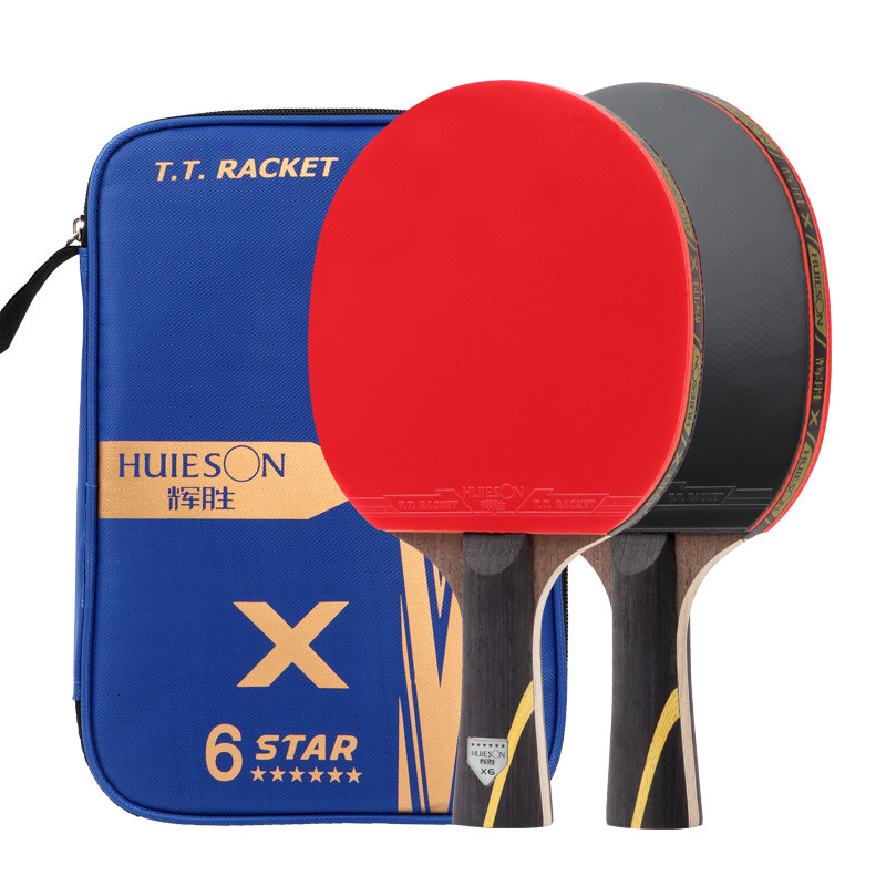 HUIESON 5/6 Star 2Pcs Carbon Table Tennis Racket Set Super Powerful Ping Pong Racket Bat For Adult Club Training New Upgraded