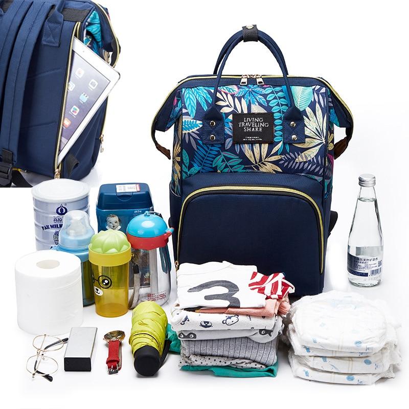 Anti-Theft Maple Leaf Diaper Bag Fashion Printed Nylon Multi-functional Large Capacity Shoulder Mom Backpack MOTHER'S Bag Custom