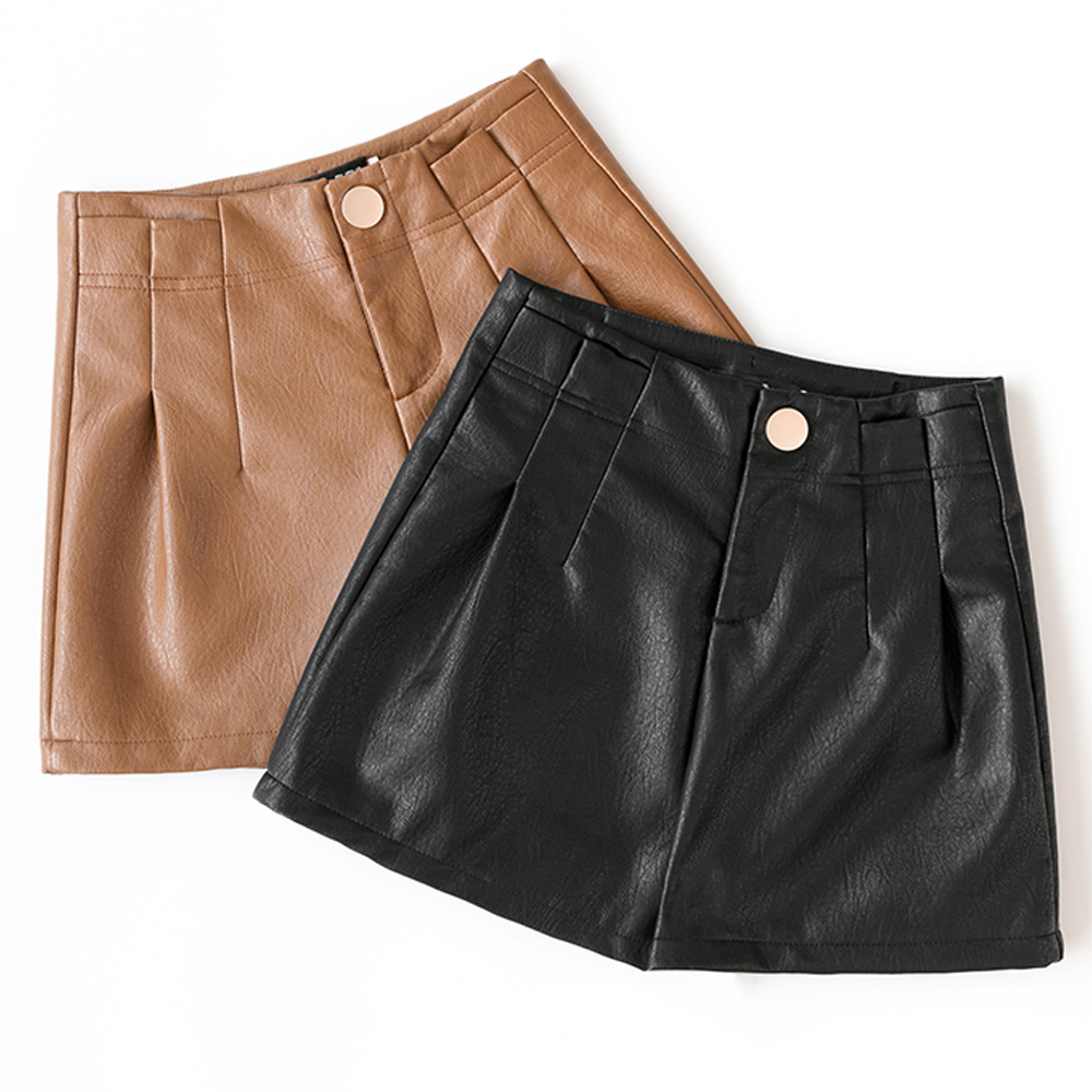 2019 new autumn winter women leather   shorts   fashion high waist pu leather women   short   female casual wide leg   shorts