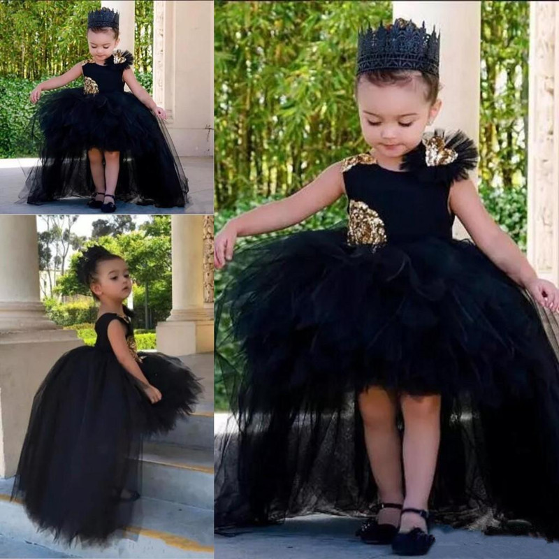 Ball-Gown Flower-Girl Dress Toddler Black Sleeveless Tutu High Tulle Puffy Appliques