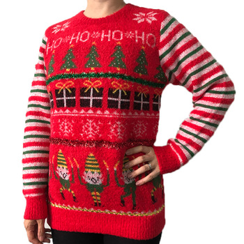 2020 Hot Selling Christmas Sweater Crew Neck Red Stripes Decoration Europe And America Womens