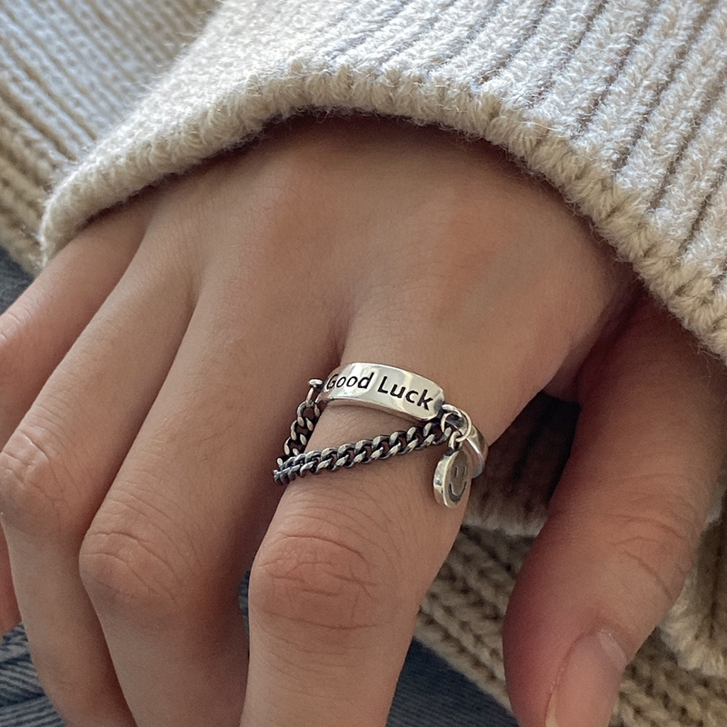 Silvology 925 Sterling Silver Chain Good Luck Rings For Women Face Creative Korea Retro Rings Temperament Birthday Jewelry Gift