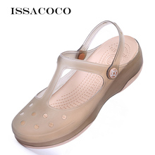 Women Hole Jelly Sandals Shoes Casual Sandals Garden Water Waterproof Shoes Flat Beach Sandals Rubbe
