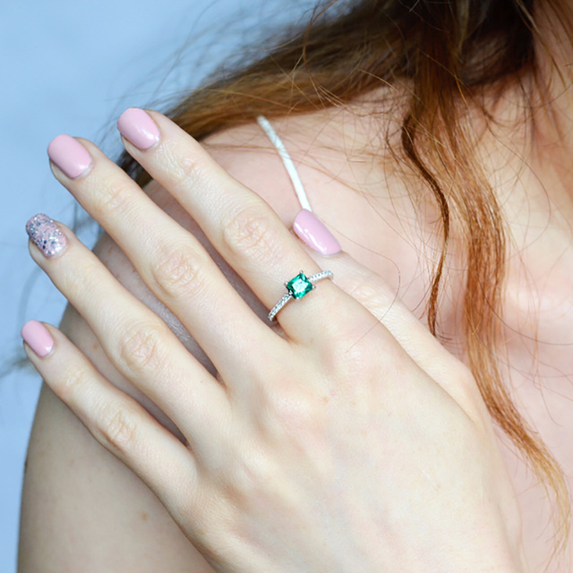 UMCHO Green Emerald Gemstone Rings for Women Genuine 925 Sterling Silver Fashion May Birthstone Ring Romantic Gift Fine Jewelry 4