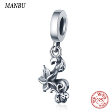 MANBU925 sterling silver Plant and insect charm with Flower cute seven-spot ladybug charms beads diy jewelry for women gifts