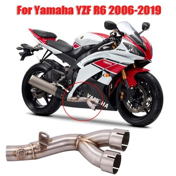Motorcycle Exhaust Tip Pipe Connecting Link Tube Middle Mid Pipe Slip on Exhaust System for Yamaha YZF R6 YZF-R6 2006-2019