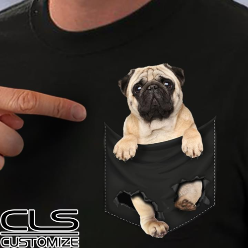 Pug Pocket T Shirt Pug Inside Pocket <font><b>Dog</b></font> Lovers Cotton Men Black HOT Cartoon t shirt men <font><b>Unisex</b></font> New Fashion <font><b>tshirt</b></font> free image