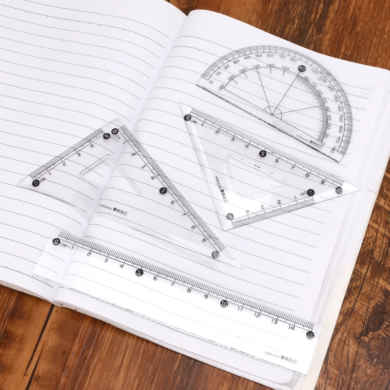 Students Drawing School Supplies Set Square Triangle Ruler Protractor Ruler Suit LX9A