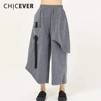CHICEVER Asymmetric Pocket Women's Wide Leg Pants High Waist Casual Loose Oversize Trouser Female 2020 Summer Fashion Clothes
