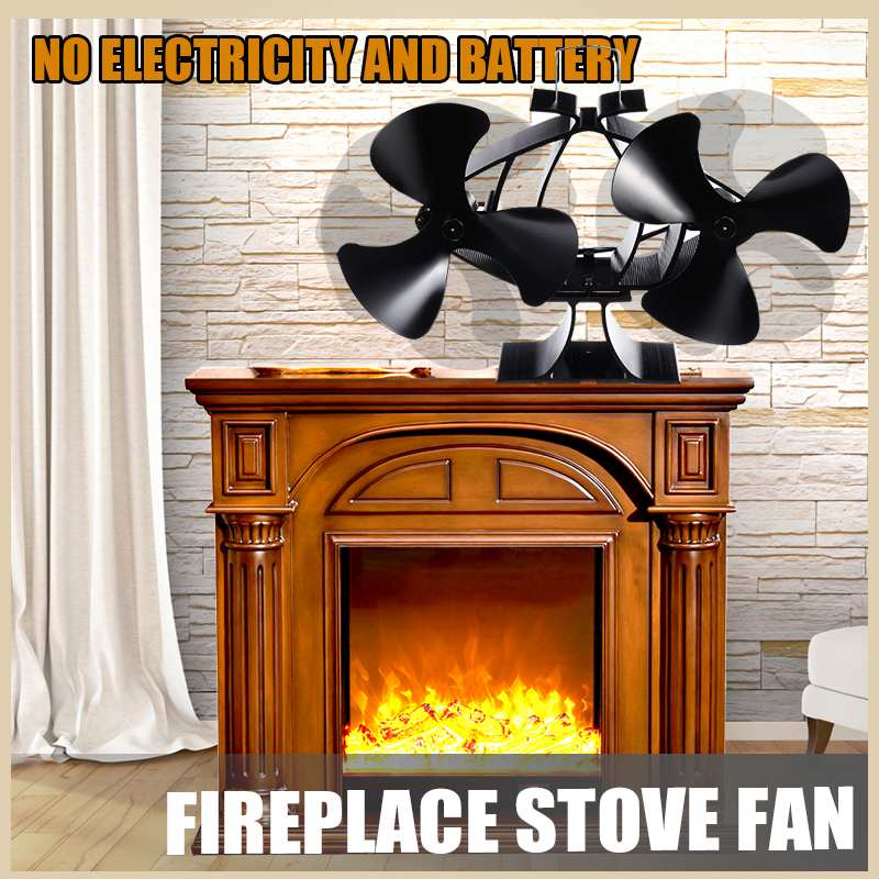 Heat Powered Stove Fan 6 Blade Dual Head Wall Mounted Stove Fan Specially For Large Room Wood/Log Burner Eco Fireplaces Fan