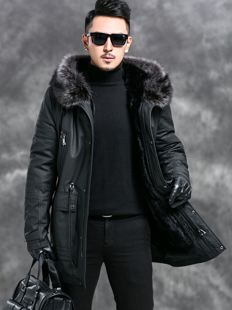 2020 New Genuine Cow Leather Jacket Men Warm Winter Parka Real Fur Coat Raccon Fur Collar Mink Fur Liner Jackets 4545