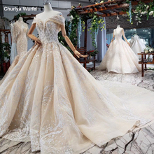 HTL762 ball gown wedding dress 2020 sweetheart short sleeves lace up back bridal marriage dress luxury robe pour mariage femme