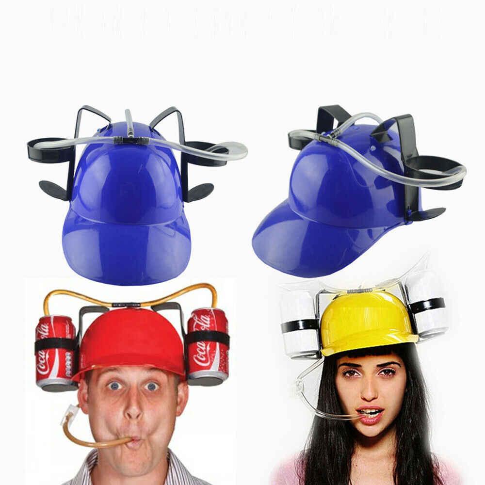 Chapéu de soda para bebidas, capacete para beber, chapéu preto para festas, 1 peça