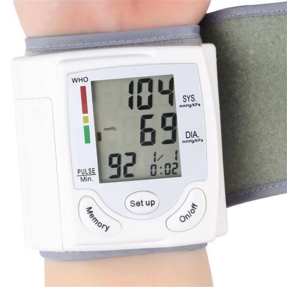 Draagbare Automatische Digitale LCD Display Pols Bloeddrukmeter Apparaat Heart Beat Rate Pulse Meter Meet Tonometer Wit