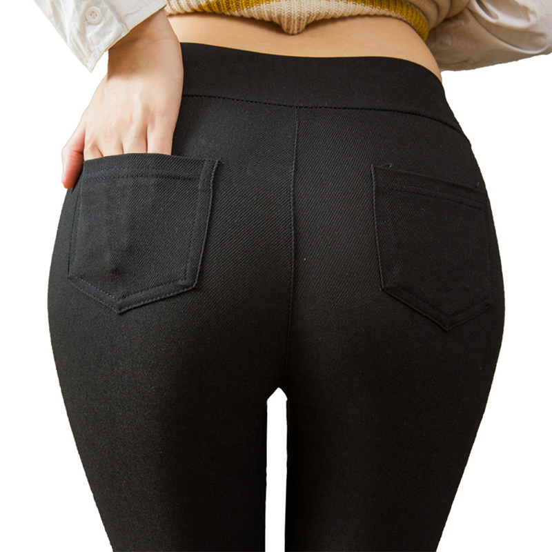 Women High Elastic Skinny Pants High Waist Black Pants Stretchy Women Trousers Slim Pencil Pants High Waist Pockets Trousers
