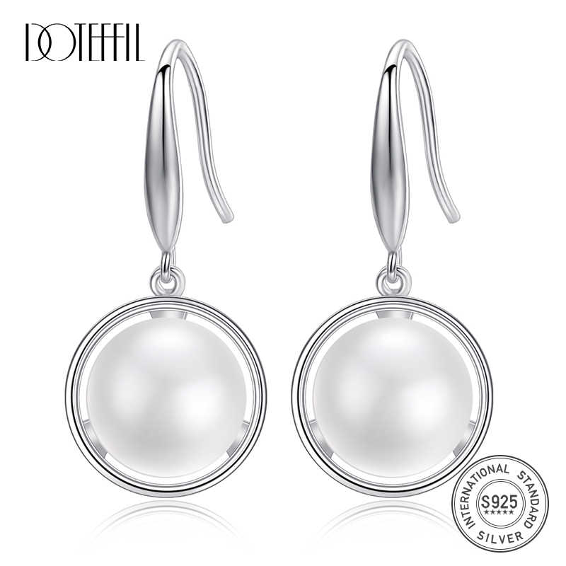 DOTEFFIL New Drop Earrings 11.5MM Natural Freshwater Pearl 925 Sterling Silver Pearl Earrings For Women Jewelry Engagement Gift
