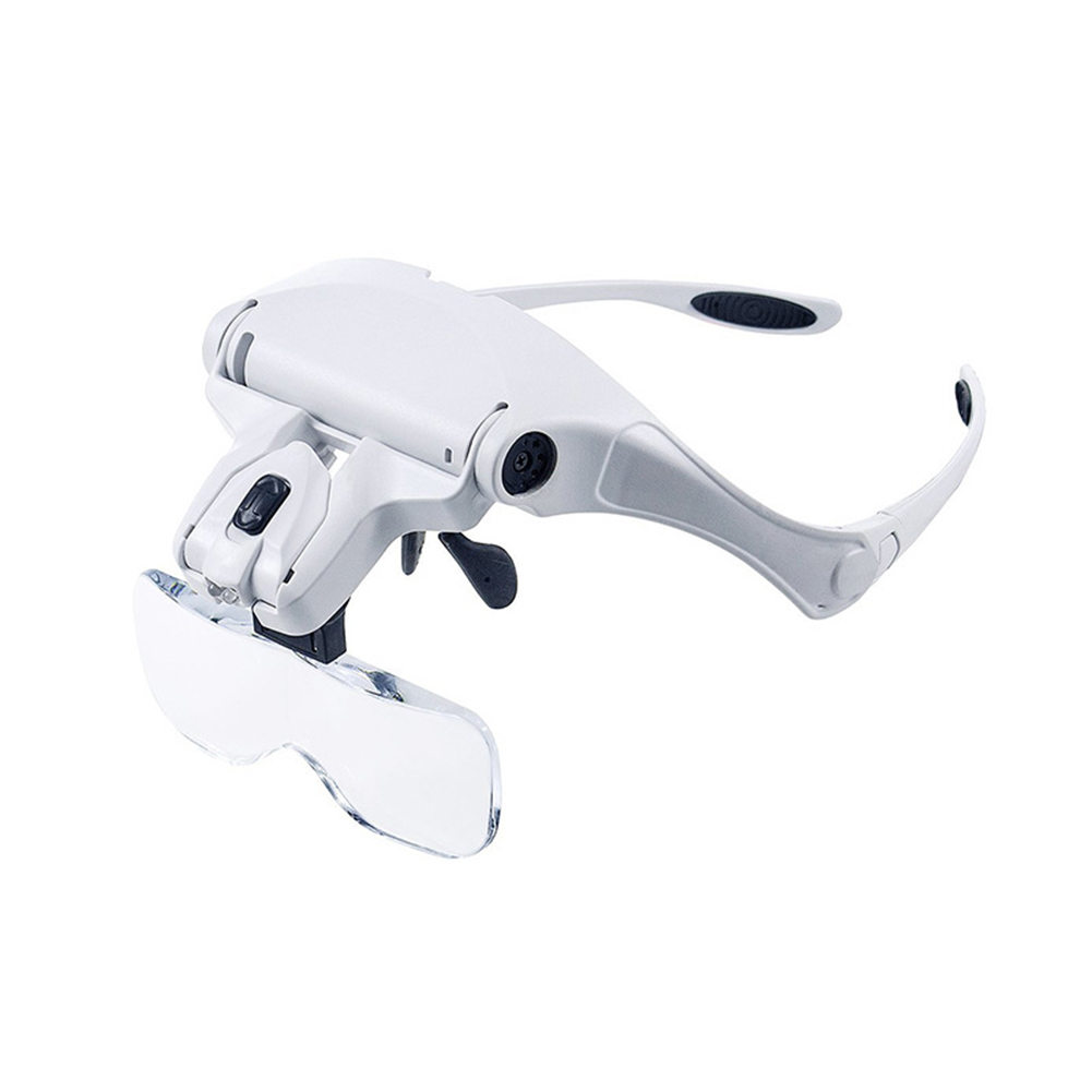 Head Mount Magnifying Glass With LED Professional Loupe Light Bracket Headband Interchangeable 1.0X 1.5X 2.0X 2.5X 3.5X
