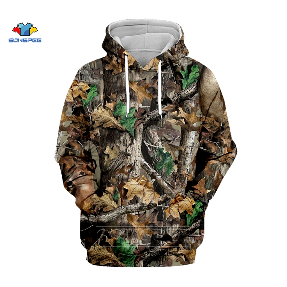 SONSPEE Forest Maple Leaves And Pine Camouflage 3D Digital Printing Sweatshirt Fishing Camping Hunting Coats Jackets With Cap