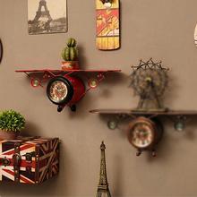 Домашний офис Железный арт летающий самолет настенные часы Висячие украшения аксессуар авиационная форма часы и стойки украшения
