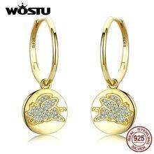 WOSTU 100% gerçek 925 som gümüş damla küpeler altın renk mutlu ve güzel CZ uçan Piggy küpe düğün hediye CTE225