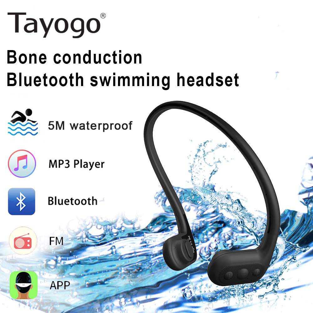 Tayogo Swimming Bone conduction Headphone Mp3 Player with FM Bluetooth APP Pedometer IPX8 Waterproof 8GB Music Player for Sports