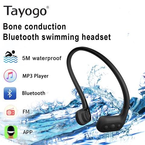Nadam o Jogador Óssea com Bluetooth de fm gb da Música do Pedômetro Ipx8 para Esportes Mp3 do Fone de Ouvido da Condução Jogador Impermeável Tayogo 8 Que