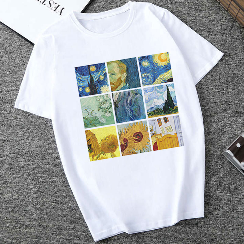 Retro Oil Art Classic Harajuku Hipsters Tumblr T-shirt Female Van Gogh Print Graphic Tees Women Streetwear Casual Funny T-Shirt