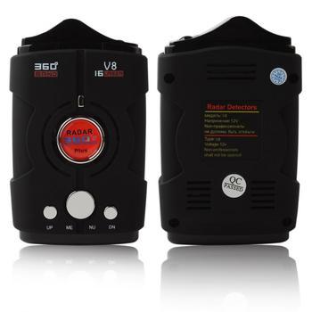 V8 360 Degree Car Radar Detector 16 Bands Russia / English version LED Display Anti Radar Detector XK NK Ku Ka Laser radar detector suction cup and car charger dc3 5 port for karadar anti radar detector