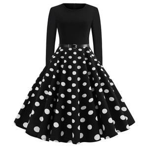 White Polka Dot Dress Autumn Women Long Sleeve Robe hiver Vintage 50s 60s Rockabilly Gothic Pin Up Winter Dresses Christmas