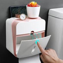 Portarrollos de baño de doble capa, caja de pañuelos, Porta Papel higiénico, montado en la pared