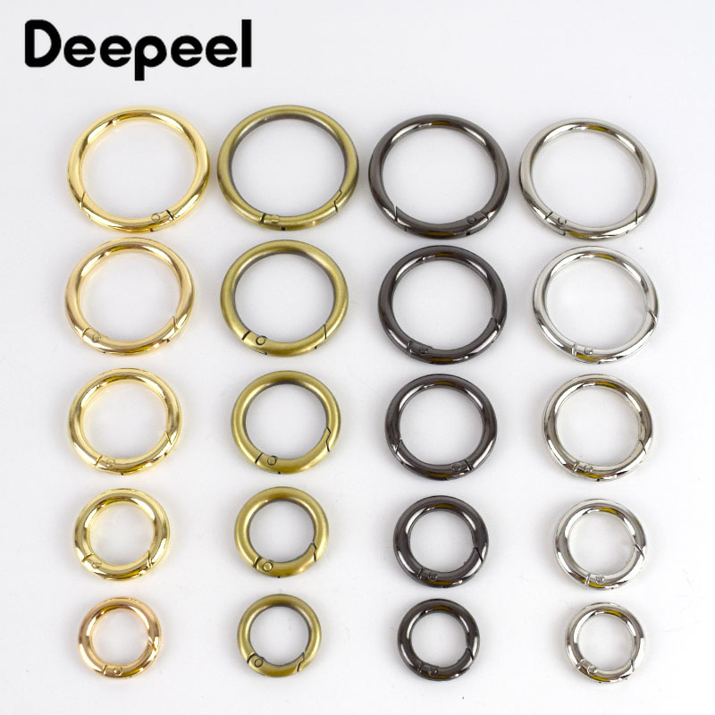 Deepeel5pcs 16-50mm Metal Spring Gate O Ring Openable Keyring Bag Belt Strap Chain Buckles Snap Clasp Clip Trigger Leather Craft