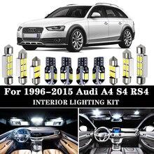 Białe żarówki samochodów LED światło górne do wnętrza kabiny samochodu opakowanie zestaw nadające się do 1996-2015 Audi A4 S4 RS4 B5 B6 B7 B8 bagażnika lustro lampa oświetlająca tablice rejestracyjną