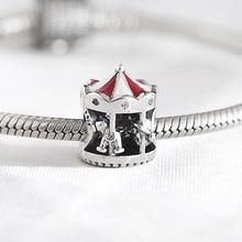 Authentic S925  Bead DIY Jewelry Christmas Carousel Charm fit Lady Bracelet Bangle