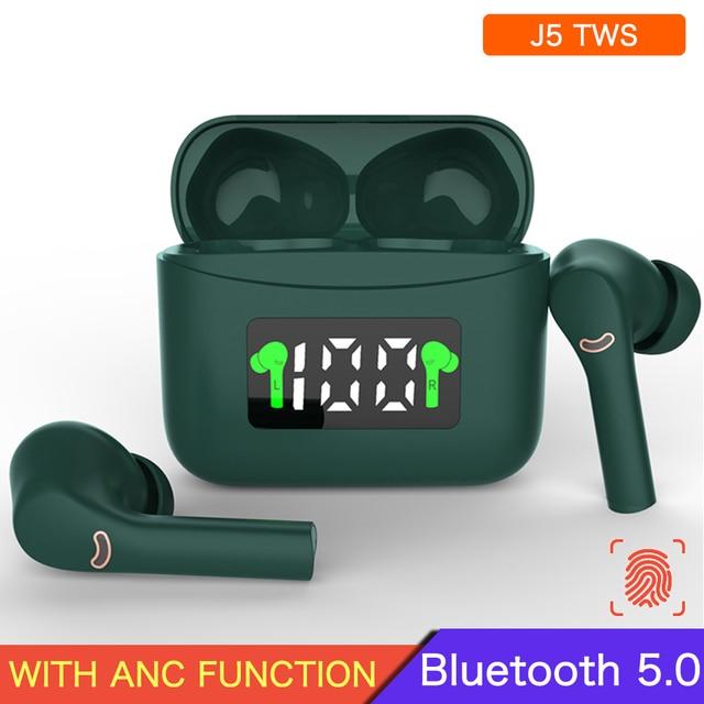 ANC J5 Tws Bluetooth 5.0 Wireless Headphones Sport Earphones Stereo Waterproof Earbuds Music Touch Control Headphones With Mic