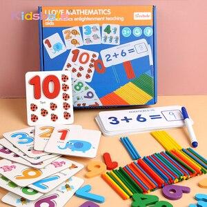 Image 1 - Juguetes matemáticos Montessori para niños, juguetes educativos para edades tempranas, calcomanía de madera para contar números, regalo de cumpleaños para niños