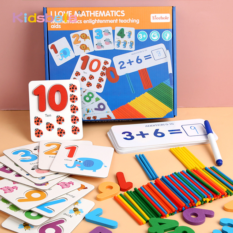 Montessori Toys For Children Mathematics Kids Early Educational Toys Counting Wooden Sticker Kids Number Cognition Birthday Gift(China)