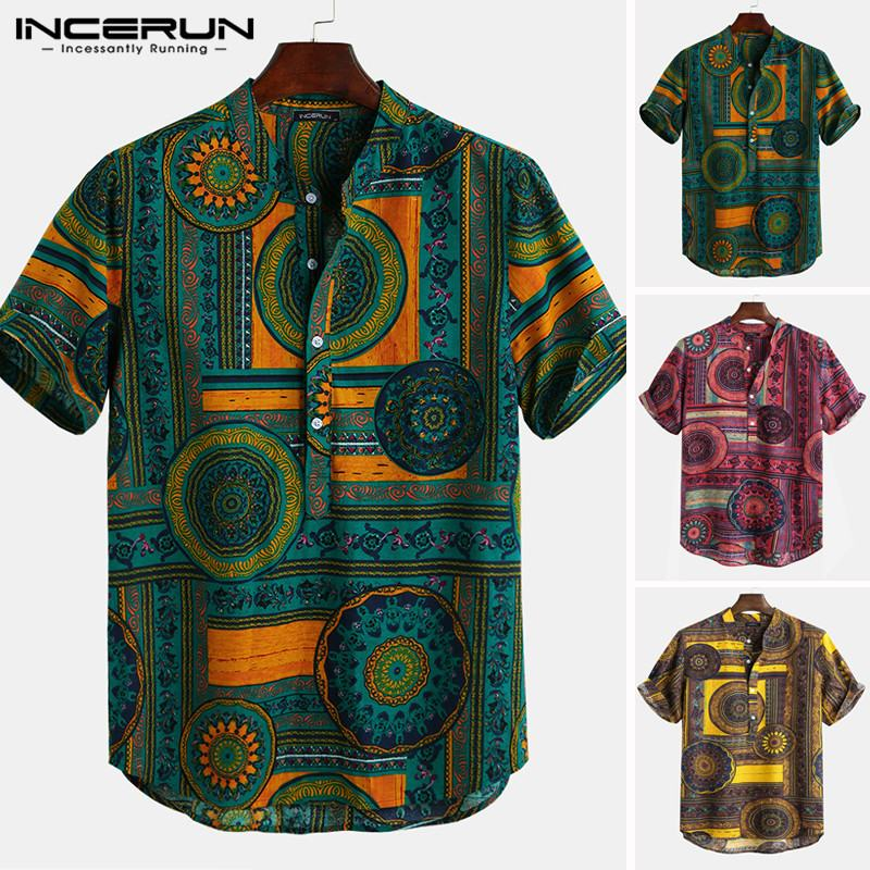 INCERUN Printed Shirt Men Stand Collar Casual Ethnic Short Sleeve Streetwear Men Hawaiian Shirts Camisa Masculina Vacation Tops