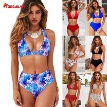 ROEGADYN White Bikinis 2019 Women High Waist Bikini Brazilian Sexy Girl Floral Print Swimsuit Beach Bathing