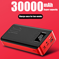 PowerBank 30000mah External Battery PoverBank 2 USB LED Poverbank Type-c Portable phone Charger for OnePlus Xiaomi