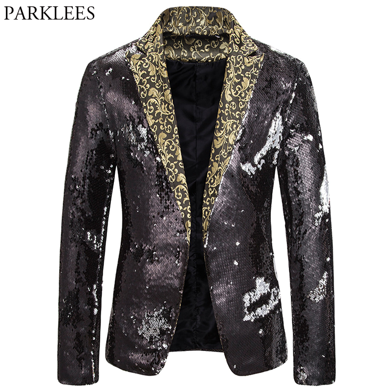 Shiny Sequin Black Men Blazers Luxury Men Blazer Red And Black Mens Blazer Jacket Mens Stage Jackets Night Club Dance Coat Male