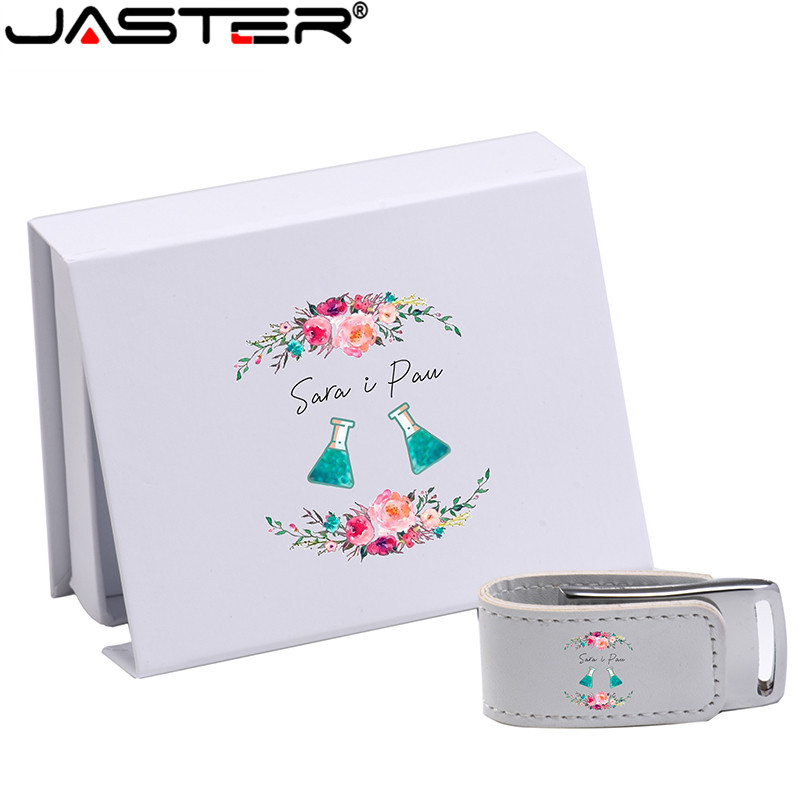JASTER (over 10PCS Free LOGO) USB 2.0 White Leather + Box Pendrive Usb Flash Drive 4GB 8GB 16GB 32GB 64GB External Storage