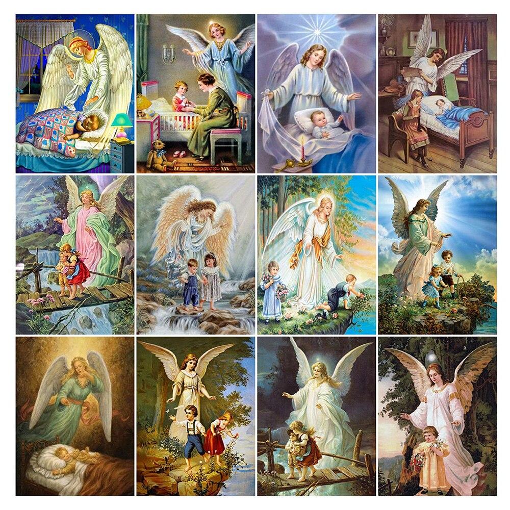 LZAIQIZG Diamond Painting Guardian Angel Baby Cross Stitch Full Square/Round Diamond Embroidery Portrait Rhinestone Home Decor